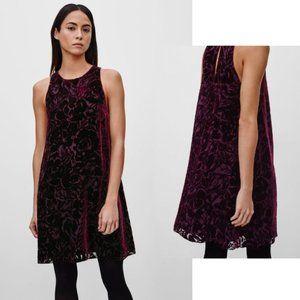 Aritzia Wilfred Trompette Velvet Burnout Dress Med